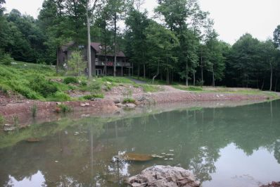 A view across the lodge's pond.